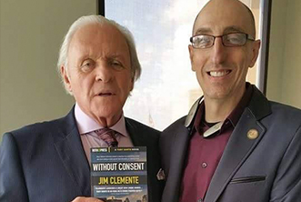 Author Jim Clemente on set with Anthony Hopkins.